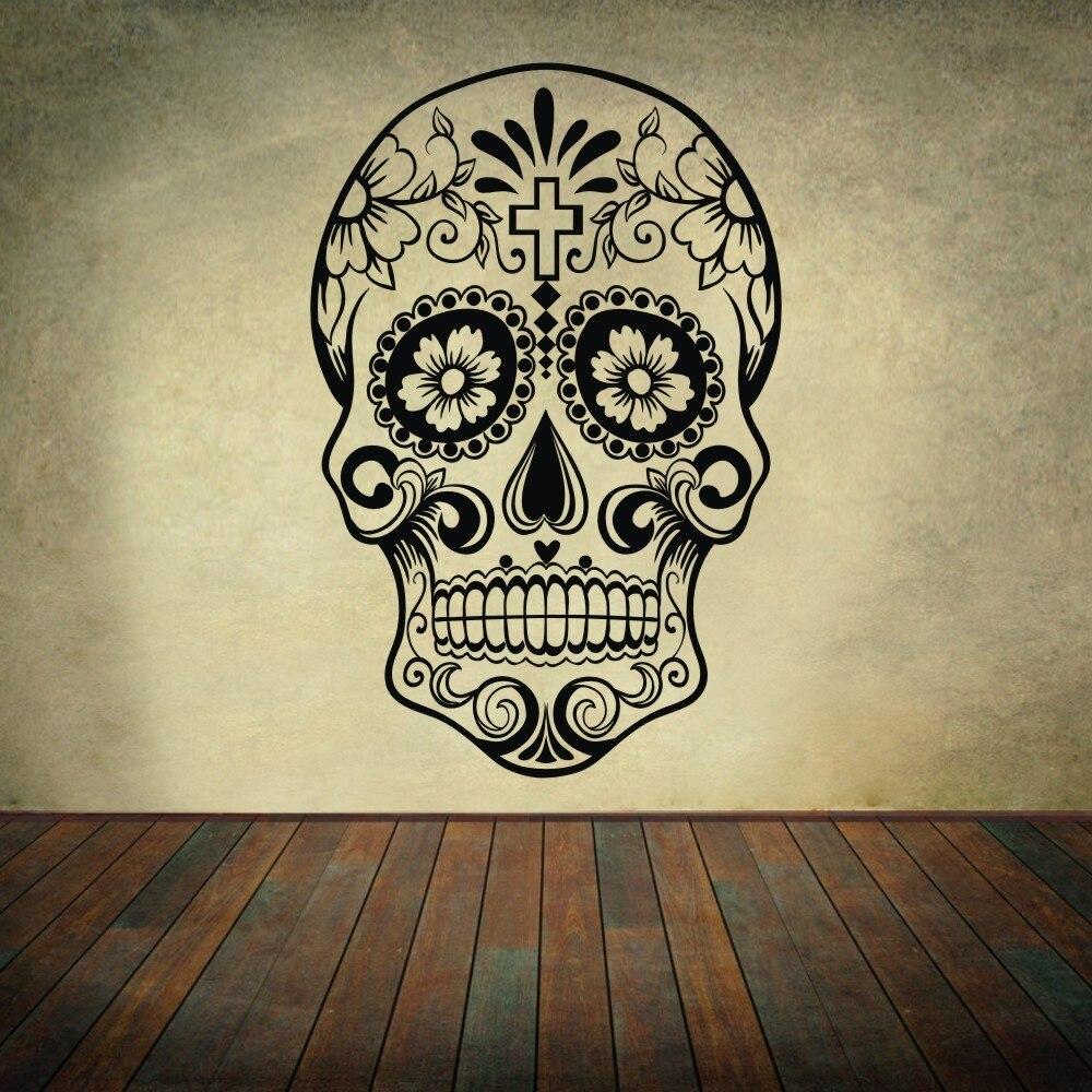 Mexican sugar skull office stickers dia de los muertos for Dia de los muertos mural