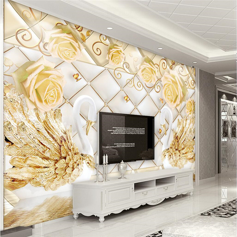 Custom Any Size Photo Background Wallpapers Soft Swan Rose Art Wall Covering Bedroom Wall Murals