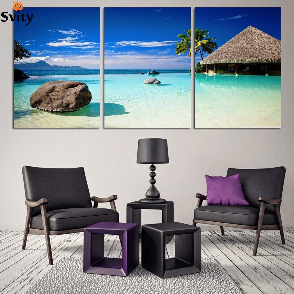 ✓Paisaje marino arte fotografía pintura sobre lienzo cielo azul y ...