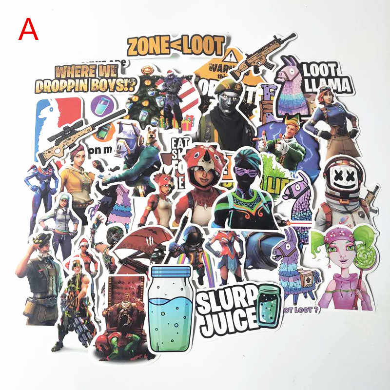 50pcs Fortaleza Battle Royale Stickers Llama Laptop Waterproof Luggage Phone Decal For Skateboard Kids Classical Quincena Toy