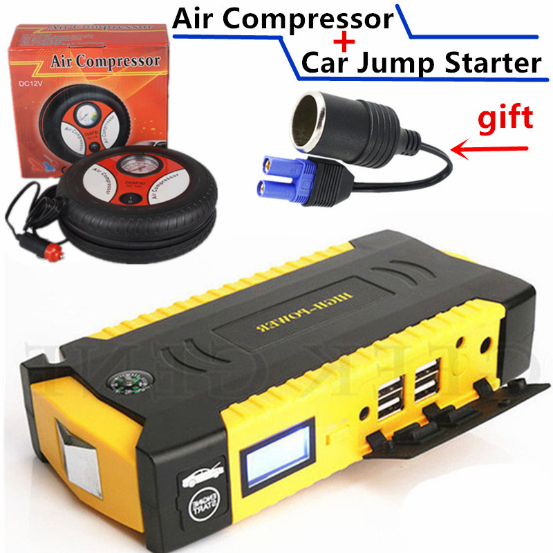 Best Car Jump Starter 12V 600A Pack <font><b>Portable</b></font> Starting Device <font><b>Power</b></font> Bank Car Charger For Car Battery Booster With Car Air Pump CE