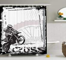 Motorcycle Shower Curtain Set Racer Image Grungy Background Poster Style Monochromic Artwork Print Bathroom Accessories(China)