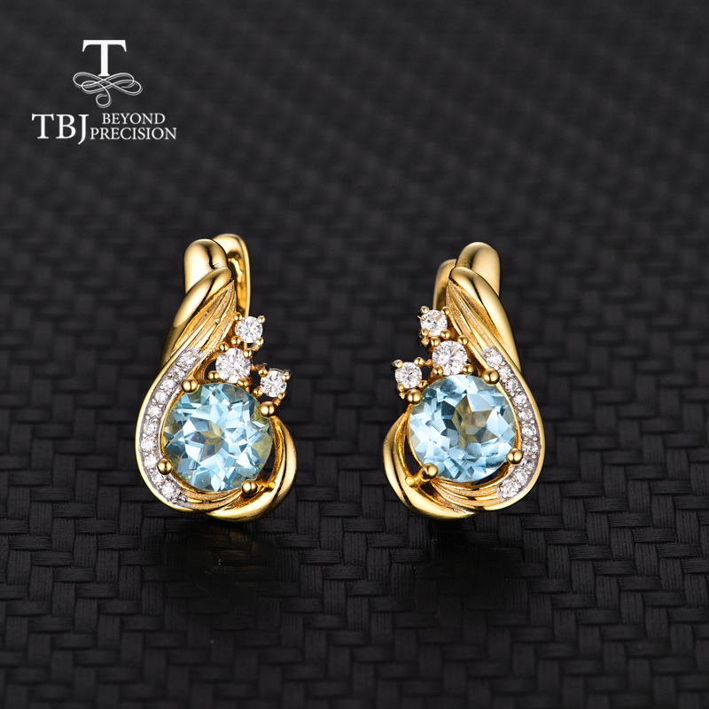 TBJ simple natural gemstone clasp earring in 925 sterling silver with sky blue topaz round7 0mm earring office girls daily use in Earrings from Jewelry Accessories
