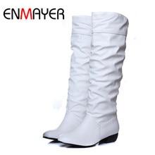 ENMAYER Plus size 43 fashion new arrival Winter Mid-Calf Women Boots Black White Brown flats heels half boots autumn Snow shoes