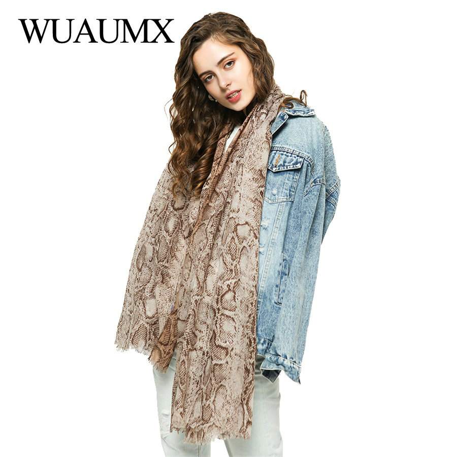 Wuaumx 2019 NEW Scarf Women Cotton Snake Skin Pattern Hijab And Scarves Spring Autumn Long Muffler sjaal Drop shipping