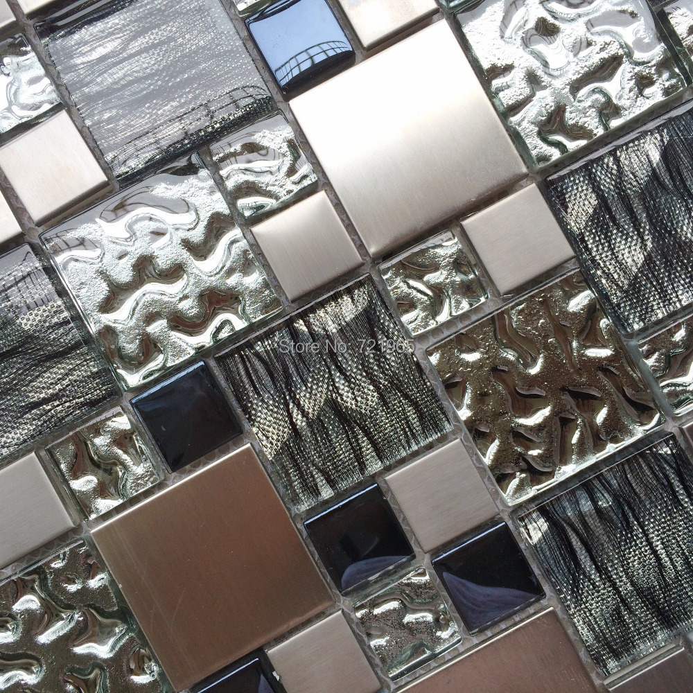 Sample Metal Stainless Steel Linear Glass Mosaic Tile: Silver Metal Mosaic Stainless Steel Tile Kitchen