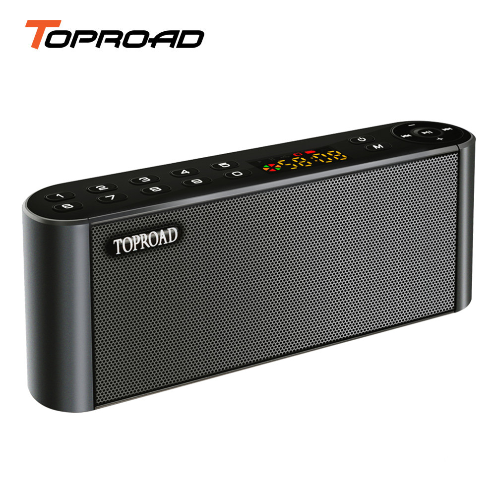 TOPROAD Portable HIFI Bluetooth Speaker Soundbar Wireless Bass Loudspeaker with LCD Screen Support MIC TF FM Radio USB Speakers