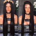Silk Straight Natural Black Long Synthetic Lace Front Wig Glueless Heat Resistant Wigs for women Free Shipping New Aurica Wig