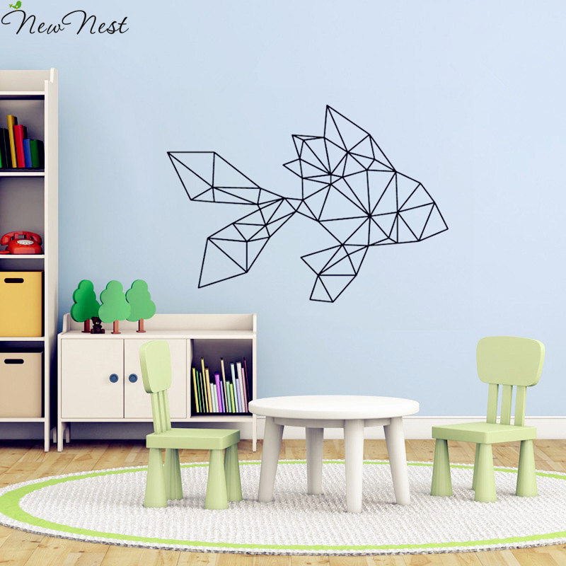 Aliexpress.com : Buy Geometric Animals Goldfish Wall Decal Vinyl Sticker  Home Decor Goldfish Wall Art Mural Kids Room Decals Size 57 X 80 Cm From  Reliable ... Part 92