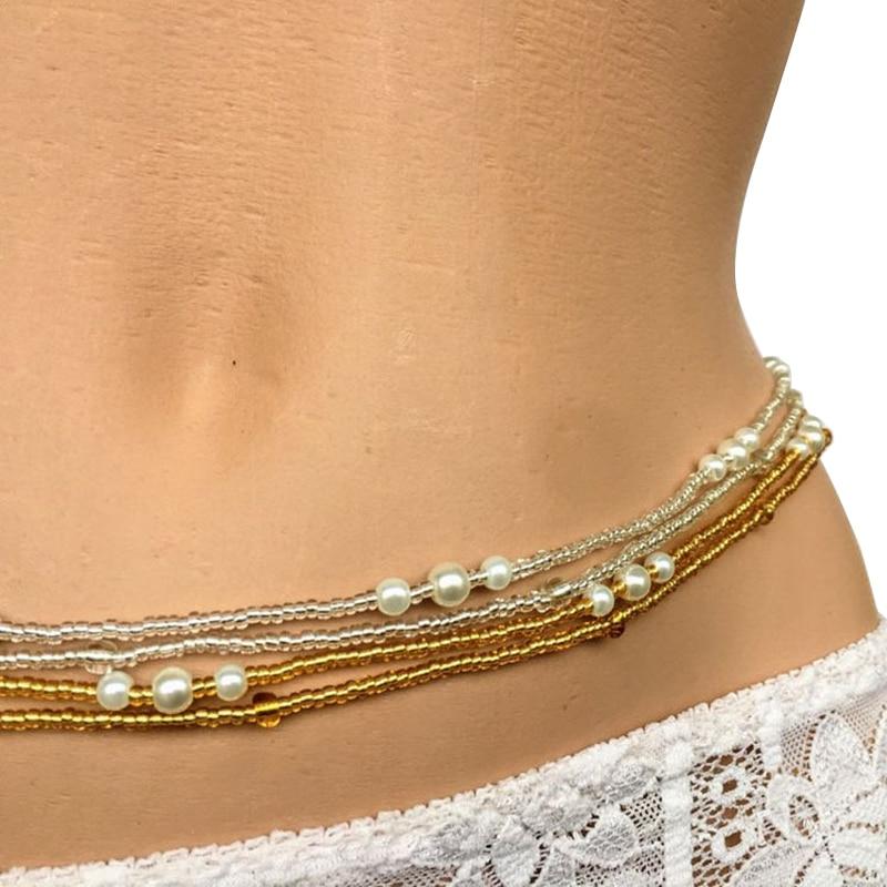 Двойные жемчужные бусины в богемном стиле, украшения для тела, цепочки для живота, эластичная цепочка на талию, африканские бусы для тела