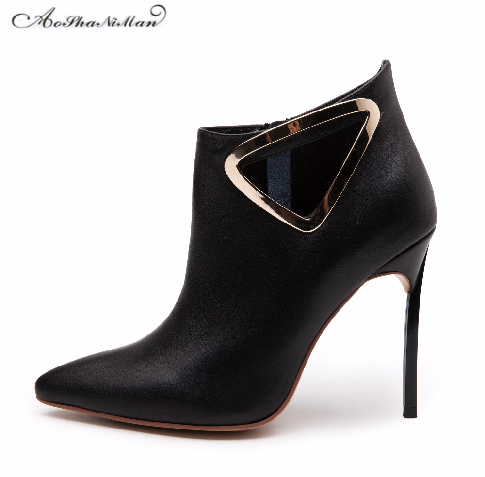 Spring Autumn Woman Shoes Cow Leather Shoes High Heels party Pumps Fashion sexy Women's pointed toe thin heel ankle boots 34-42 spring autumn shoes woman pointed toe metal buckle shallow 11 plus size thick heels shoes sexy career super high heel shoes