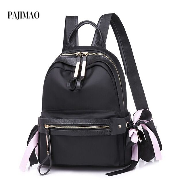 b13a249fb9d Popular Women Black Backpack Nylon Fabric Small Cute Backpack Invisible  Back Pocket Small Simple Design Pure Color Soft Feeling