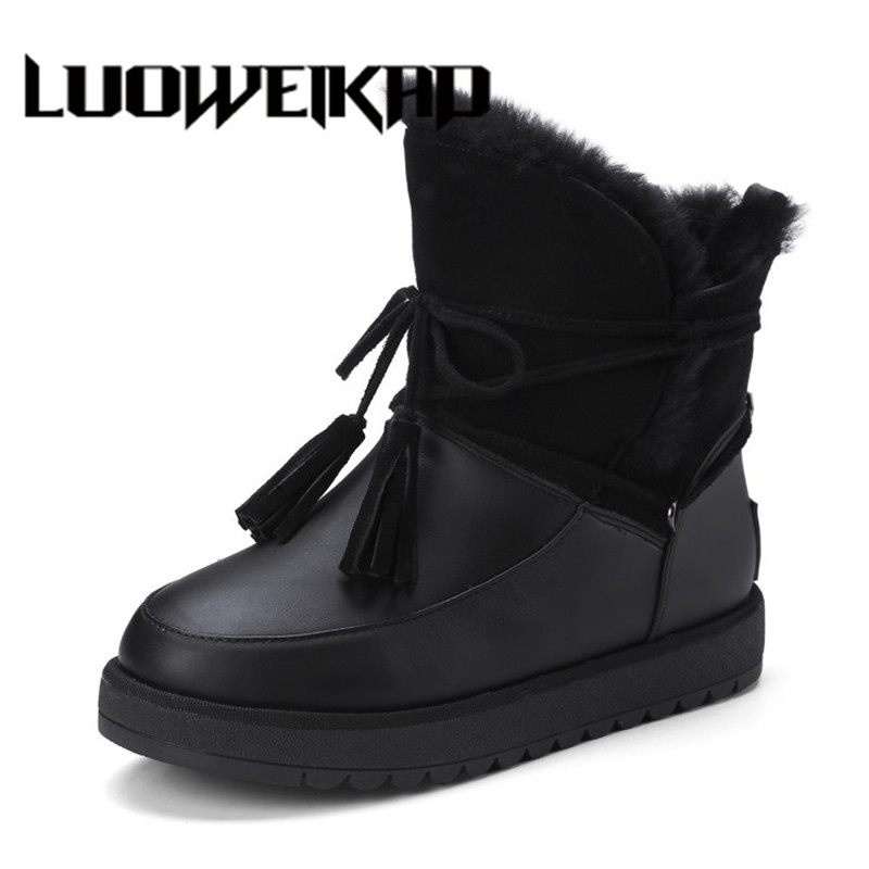 Genuine Leather Fur Round Toe Platform Winter Boots Fashion  Snow Boots Women Ankle Shoes platform genuine leather wedge shoes 2017 round toe casual grey real fur winter short furry snow boots women ankle new fashion