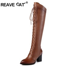 REAVE KAT Vrouwen Lederen Cross-gebonden Hoge hak Over de laarzen Ladies botas Lange laarzen Warme Winter Rits Zwart A779(China)