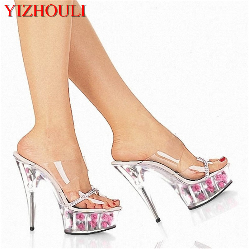 15cm Thin Heels High-Heeled Shoes Performance Shoes Rose Crystal Slippers 6 Inch Lovely Flowers High-Heeled Stripper Shoes