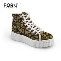 Brand Women Flats Shoes Cool Skull Design Women Creepers Shoes Lace Up Woman Female Casual Flats