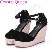 Superior Quality Summer Style Comfortable Bohemia Platform Wedges Sandals For Lady Shoes High Platform Open Toe