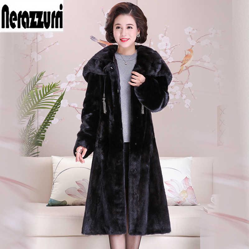 Nerazzurri futro z norek płaszcz kobiety z dużym kaptur z długim rękawem prawdziwe futro płaszcz z norek czarny długi plus rozmiar futra naturalnego płaszcz z norek s 5xl