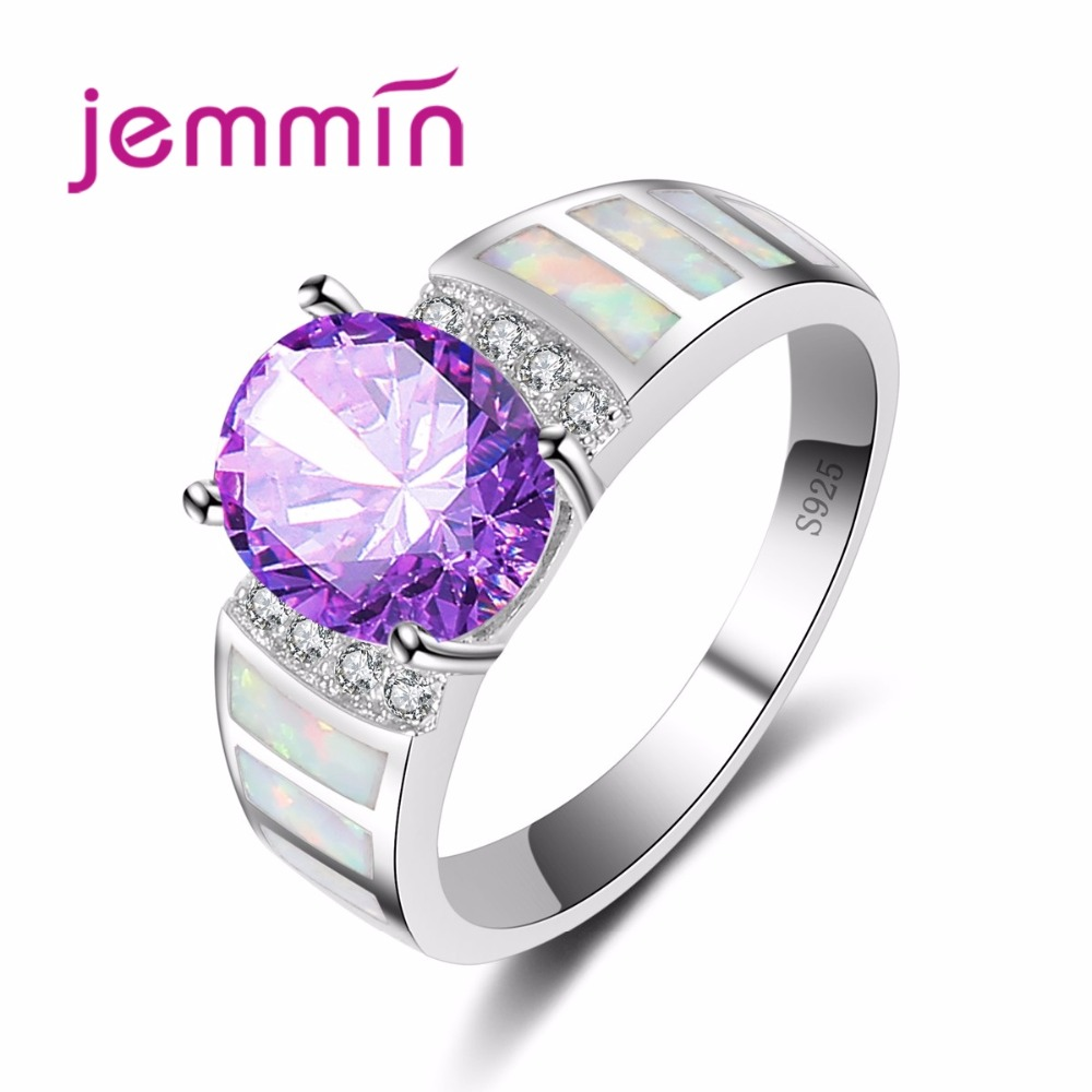 Luxury Hyperbolic Purple CZ Crystal 925 Sterling Silver Jewelry Stylish Hot White Rainbow Opal Ring For Women Wedding