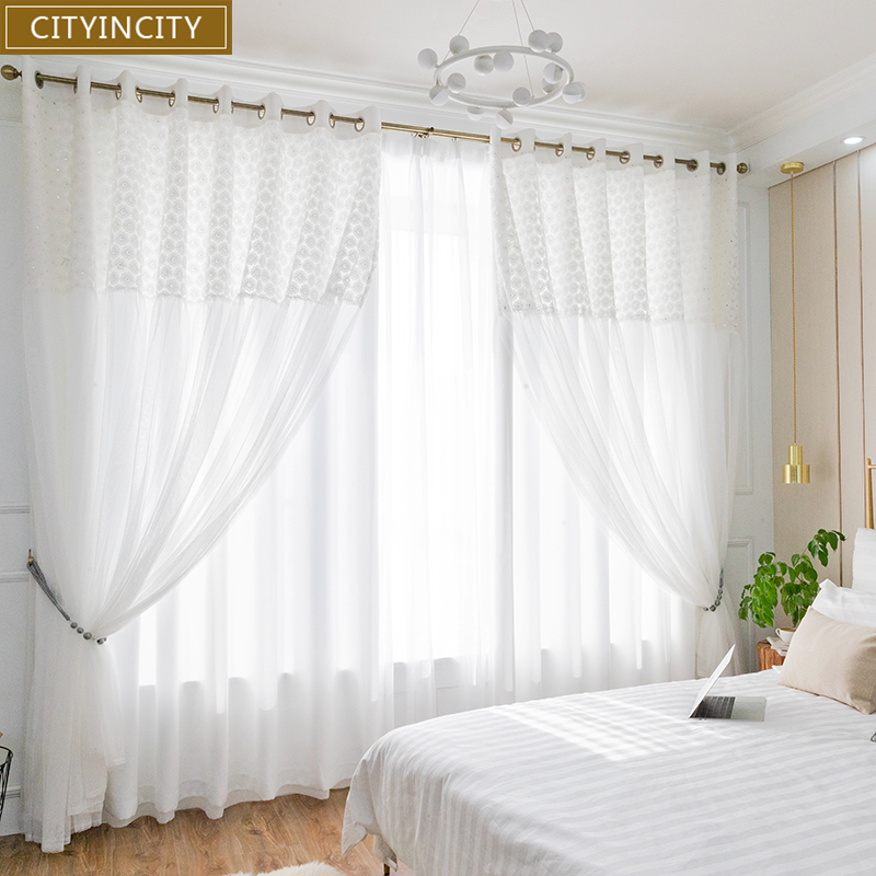 CITYINCITY Blackout LACE Curtains For Living room Double layer elegant white Small daisy Lace kids curtain