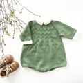 2017 Newborn Romper Spring Knitting Solid Cotton Long Sleeve Turn-down Collar  Baby Romper Infant Jumpsuits Costume Baby Sweater