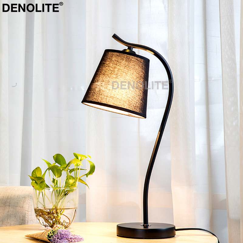 Denolite Nordic Style Table Lamp White Black Cone Fabric Shade With
