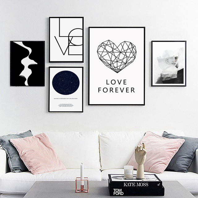 Black and white abstract kiss love star charts canvas painting posters prints wall art pictures also rh aliexpress