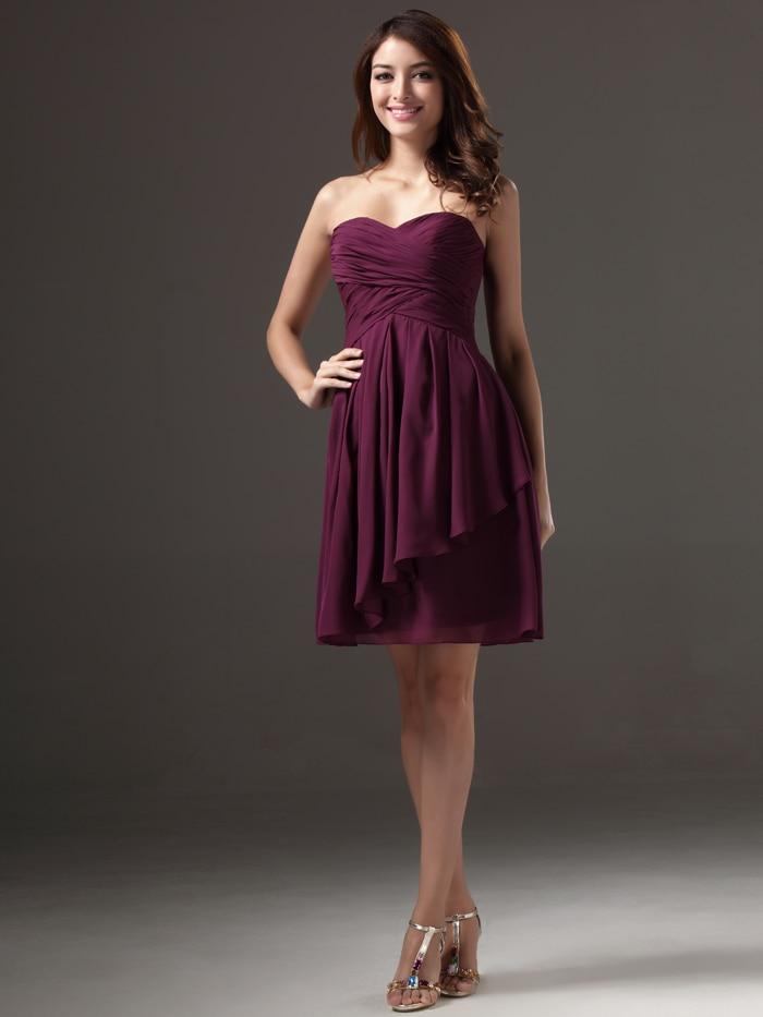 Sweetheart Bridesmaid Gowns 2016 Dark Purple A Line Bridesmaid Dress