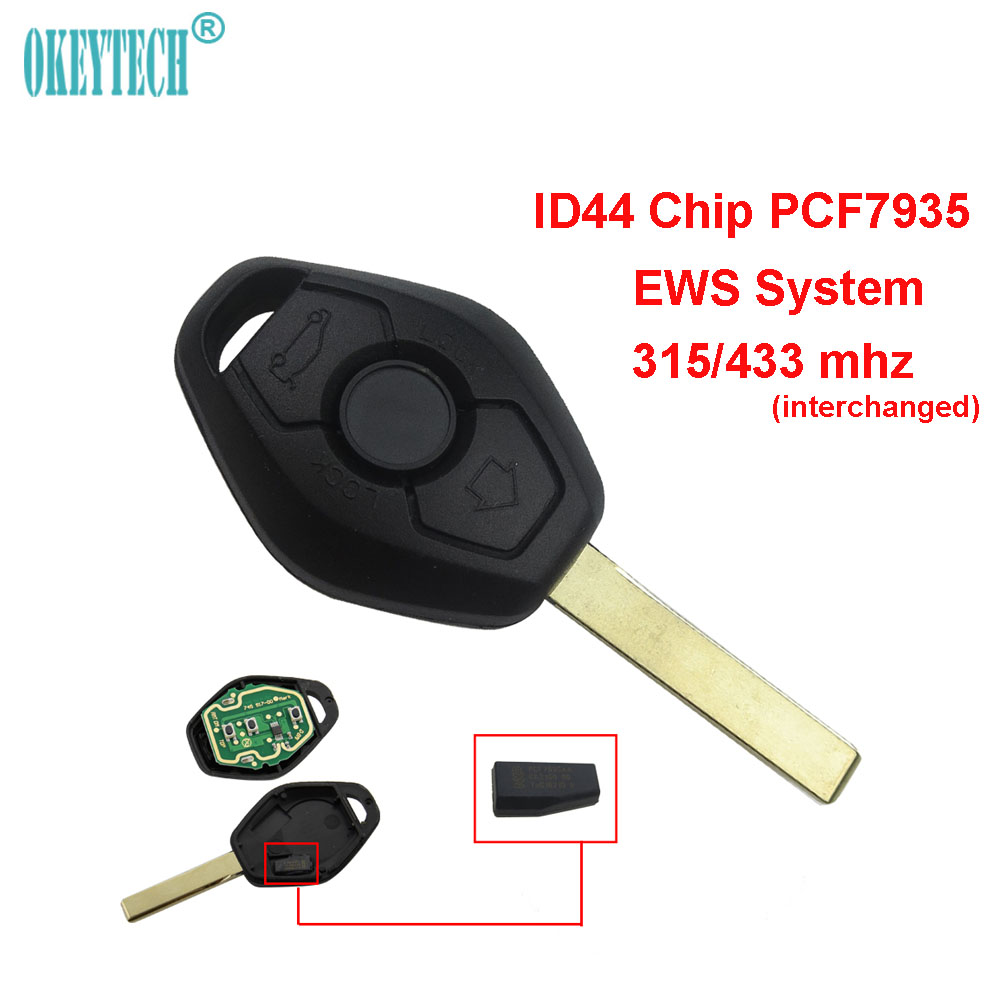 OkeyTech for BMW Remote Car Key EWS System ID44 PCF7935 Chip 315MHz/433MHz Switchable for X3 X5 Z3 Z4 1/3/5/7 Series HU92 Blade