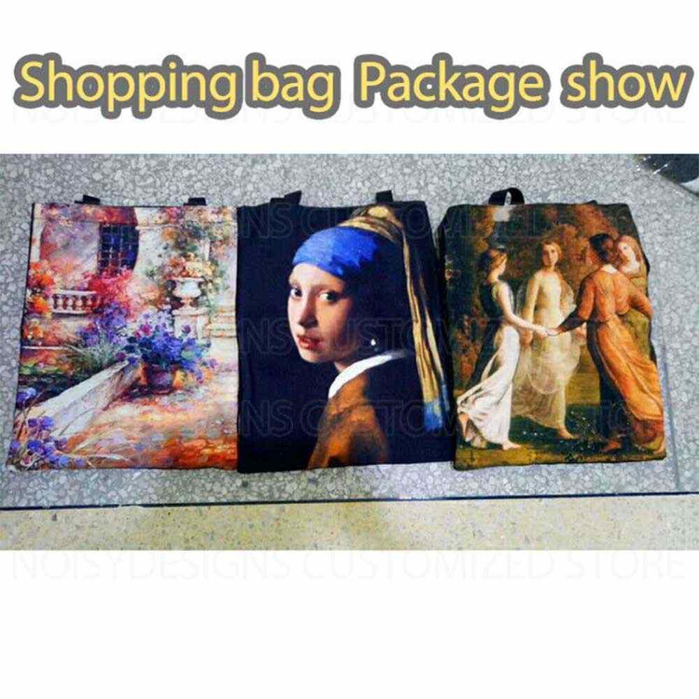 Słynny obraz torby na zakupy podróży torby niestandardowe wielokrotnego użytku torebka torebka damska na ramię składana dziewczyna Olils duża lniana torba