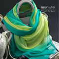 Genuine Silk Women Scarf Fashion Fruit Green Gradient Scarves 2016 Spring Summer Winter High Quality Shawl