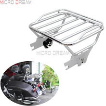 Chrome Motorcycles Sissy Bar Rack Detachable Two Up Luggage Holders Bracket For Harley Touring Road King 1997-2008