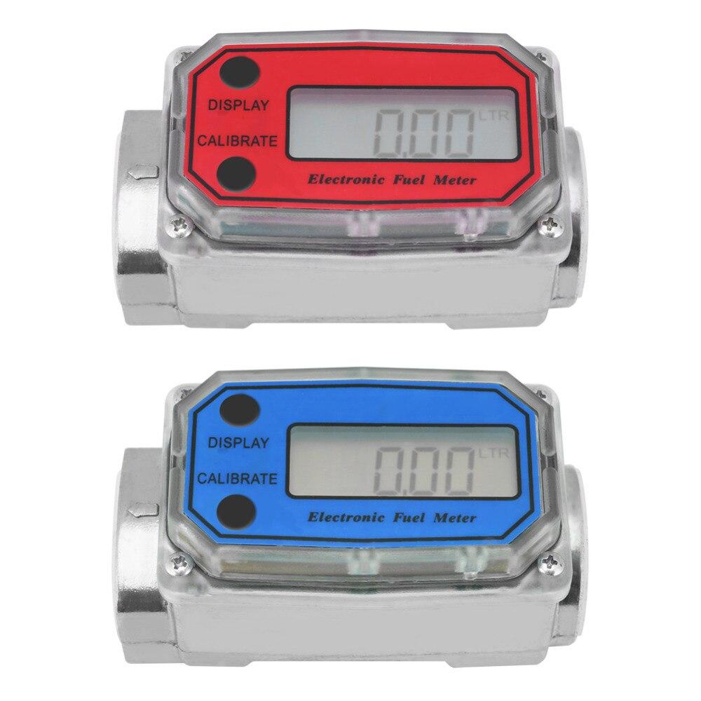 LCD Digital Flow Meter Turbine Flowmeter Diesel Fuel Flow Meter 15-120L For Chemicals Water Sea Adjust Liquid Flow Meter