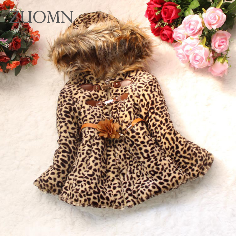 Winter Baby Girls Cotton Fuax Fur Coat Warm Lolita Style Leopard Printed Jackets Kids Infant Thick Outerwears Baby Clothes GH297 2017 fashion boy winter down jackets children coats warm baby cotton parkas kids outerwears for