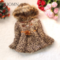 Winter Baby Girls Cotton Fuax Fur Coat Warm Lolita Style Leopard Printed Jackets Kids Infant Thick Outerwears Baby Clothes GH297