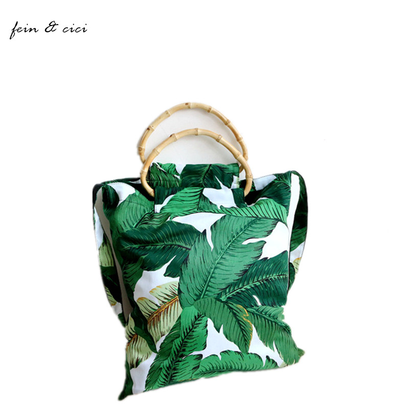 beach bag women bamboo handle bag printed canvas shopping bag large big totes shoulder bag Bohemian fashion can be fold over specials can be wooden handle steel handle felling firewood cut bamboo garden pruning sickle contempt shinai