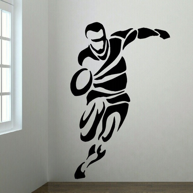 LARGE UPTO 6FT RUGBY PLAYER BEDROOM WALL ART MURAL TRANSFER STICKER VINYL DECAL