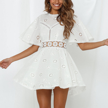 Sexy Waist Hollow Flower Embroidered Skater Dress White Cotton Lace Dress Short Summer Sundresses Ladies Back Cut Party Dresses hollow cut insert knot back dress