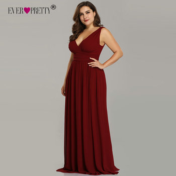 Ever Pretty Plus Size Bridesmaid Dresses 2019 Vestidos Elegant A Line V Neck Backless Long Chiffon Wedding Party Gowns EP09016 Bridesmaid Dresses and Gowns