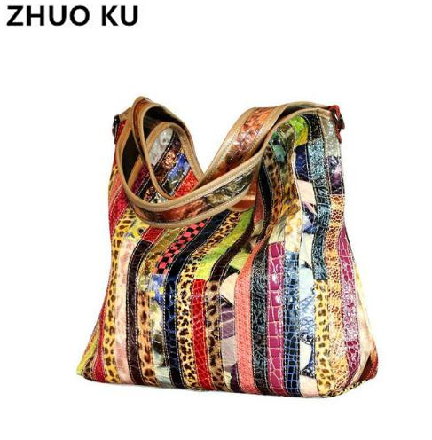 ZHUOKU2017   Quality Women Handbag Casual Large Capacity Hobos Bag Hot Sell Female Totes Colorful Snake Print Bags high quality travel canvas women handbag casual large capacity hobos bag hot sell female totes bolsas ruched solid shoulder bag