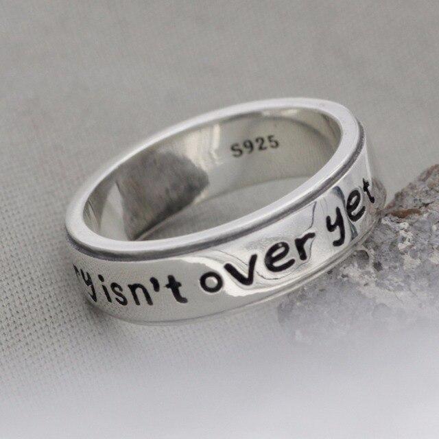A minha história não acabou ainda Ponto E Vírgula Anéis Realmente 925 Anéis de prata esterlina Jóias Anéis de Ponto E Vírgula YLQ0515