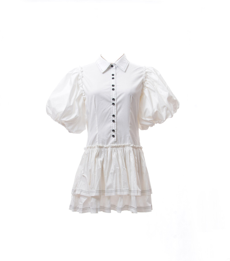 Nouveau 2019 Station européenne été célèbre français Simple tempérament ligne lumineuse lanterne manches chemise blanche robe mince