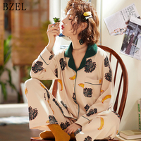 BZEL Womens Pajamas Sets Round Neck Cartoon Kawaii Totoro Sleepwear Cotton Nighty Female Casual Pijama Femme Underwear Lingerie