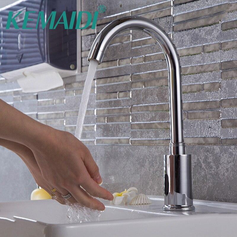 все цены на KEMAIDI Kitchen Faucets Bathroom Automatic Hands Touch Free Sensor Chrome Brass Sink Tap Deck Mounted Auto-Sensor Mixer