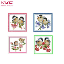 NKF The chatted birds on berries home decor handmade cross-stitch set diy needlework kit painting count print on canvas DMC14ct все цены