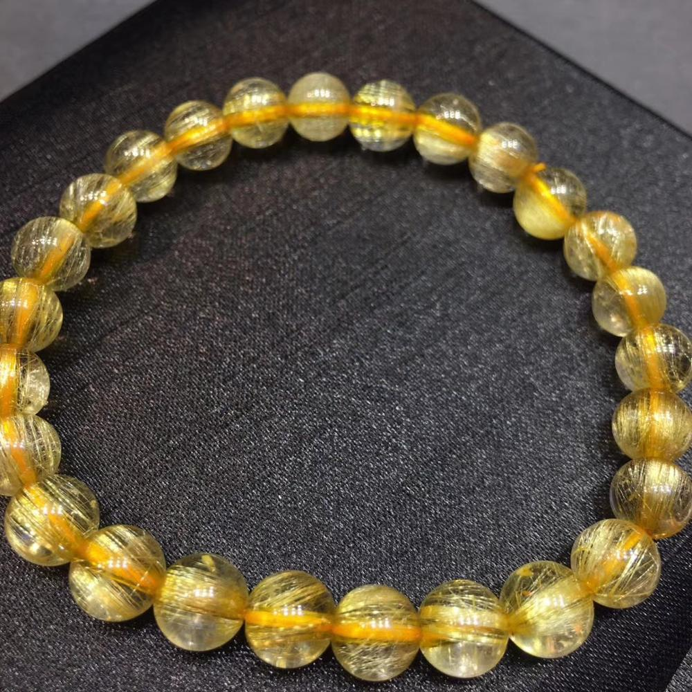Certificate Natural Gold Rutilated Quartz Titanium Crystal Woman Man Bracelet Gemstone Round Beads 7mm Jewelry Stone AAAAA in Bracelets Bangles from Jewelry Accessories