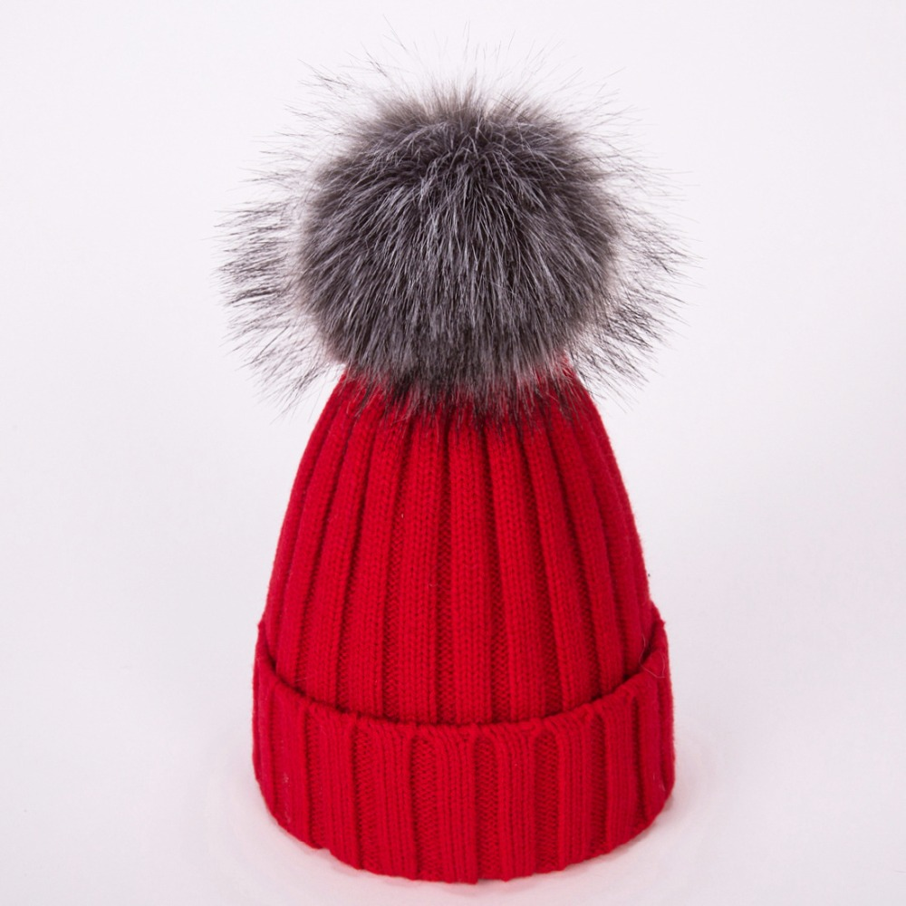 5b8286e1ee2 Real Fur Winter Hat Raccoon Pom Pom Hat For Women Brand Thick Women Hat  Girls Caps Knitted Beanies Cap Wholesale 2018 new-in Skullies   Beanies  from Apparel ...