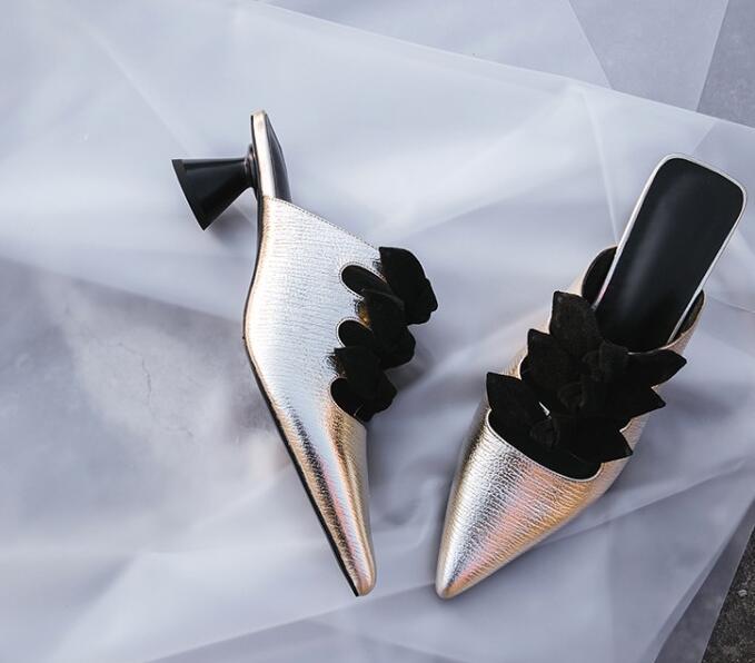 Petit As as Pointu Été Chaussures Spike Pic Dames Noeuds Papillon Talons Élégantes Haute Pic Sandales Femme Équipement Slingback De Bout Rue qwEwTSH