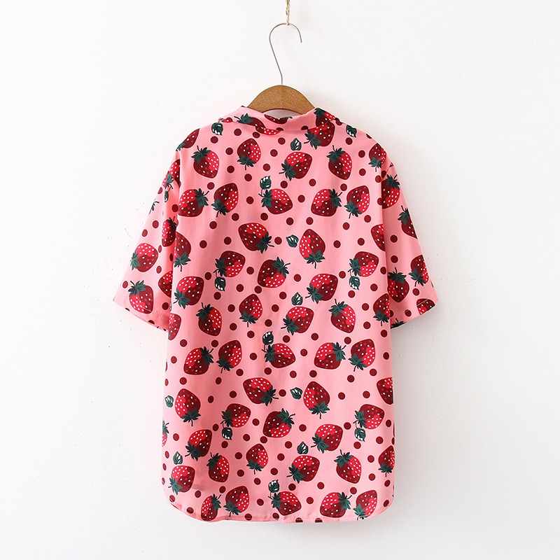 Kytrun Women Blouses Holiday Casual Short Sleeve Tops Ladies Strawberry Printed Shirt Summer Women Clothing