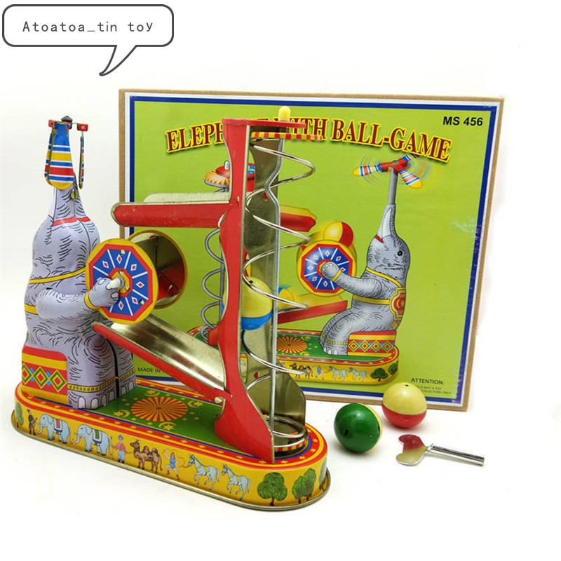 Vintage Retro Collection Tin Toys Classic Clockwork Wind Up Elephant With Ball Game Tin Toys For Adult Children Collectible Gift